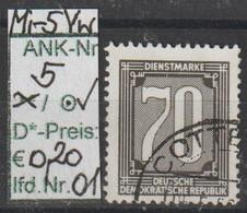 """1956 - DDR - DM = Dienstmarken """"Ziffernzeichnung""""  70 Pfg. Schw'brtaun - O Gestempelt - S.Scan  (Vw 5o 01-03  Ddr) - Dienstpost"""
