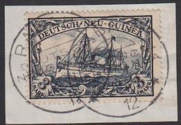 1901. DEUTSCH-NEU-GUINEA. 3 MARK Kaiserjacht SMS Hohenzollern On Small Piece Cancelle... (Michel 18) - JF510279 - Colony: German New Guinea