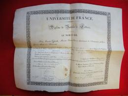 1836 Ministre François Guizot Université De France Sur Velin Diplôme Bachelier Antoine Benezech 44.5x34 Cm - Historical Documents