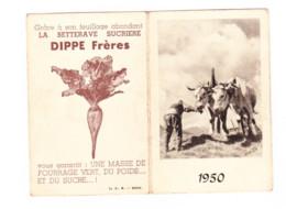 Calendrier Publicitaire De 1950 - Betterave Sucrière DIPPE Frères (b301 ) - Petit Format : 1941-60