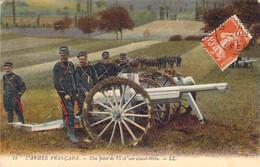 Une Pièce De 75 (canon) De L'Armée Française Et Son Avant-train Carte Colorisée LL75 - Ausrüstung
