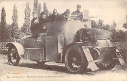 Guerre 1914 Curieuse Mitrailleuse Belge Sur Automobile Blindée - Ausrüstung