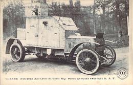 Guerre 1914 Auto-Canon De L'Armée Belge Montée Sur Roues Amovibles R.A.F Publicité Au Dos R.A.F. à Ivry-Port - Ausrüstung