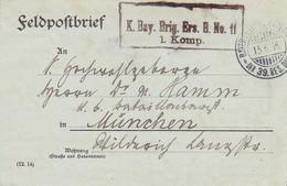 Feldpostbrief - K. Bay. Brig. Ers. B. No. 11 - Nach München - 1916 (58106) - Covers & Documents