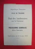 31 Toulouse Adjudication 1903 Pont Des Amidonniers Sur La Garonne Programme & Plan 21x30.5 Cm (fermé) - Historical Documents