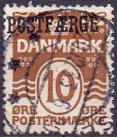 DENEMARKEN 1922 -53 10öre Roodbruin Postfaerge Christian X GB-USED - Used Stamps