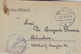 Feldpostbrief - Landw. Inft. Batl. No. 89 - Nach München - 1918 (58110) - Covers & Documents