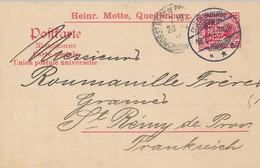 QUEDLINBURG  - 1913 ,  Perfins / Firmenlochung  -  HEINR. METTE  -  Karte Nach St. Remy De Provence / FR - Covers & Documents