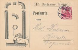 SIEGEN  - 1912 ,  Perfins / Firmenlochung  -  HCH. BERTRAMS  -  Karte Nach Basel / CH - Covers & Documents