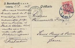 LEIPZIG-NEUSCHÖNEFELD  - 1913  ,  Perfins / Firmenlochung  -  J. BERNARDI  -  Karte Nach St. Remy De Provence - Covers & Documents