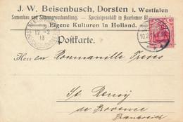 DORSTEN  - 1913  ,  Perfins / Firmenlochung  -  J. W. BEISENBUSCH  -  Karte Nach St. Remy De Provence - Covers & Documents