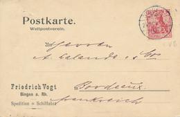 BINGEN  - 1909  ,  Perfins / Firmenlochung  -  FV B  FRIEDRICH VOGT  -  Karte Nach Bordeaux / FR - Covers & Documents