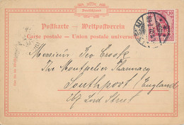 ILMENAU  - 1902  ,  Perfins / Firmenlochung  -  ALT , EBERHARDT & JÄGER  -  Karte Nach Southport / GB - Covers & Documents