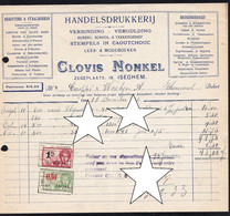 "IMPRIMERIE - TABAC - *  ISEGHEM - IZEGEM "" CLOVIS NONKEL "" * 1933 - DRUKKERIJ - CIGARES Etc - 1900 – 1949"