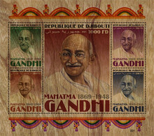 DJIBOUTI 2021 - Mahatma Gandhi, Wooden Stamps. Official Issue [DJB210314] - Djibouti (1977-...)