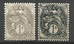 TYPE BLANC N° 107 IB Et 107 Ll Ardoise Tres Foncé NEUF* LEGERE TRACE DE CHARNIERE /  MH - 1900-29 Blanc