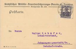ZWICKAU  - 1920  ,  Perfins / Firmenlochung  -  SÄCHSISCHER MILITÄR-FEUERVERSICHERUNG  -  Karte Nach Johanngeorgenstadt - Covers & Documents