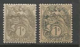 TYPE BLANC N° 107f Et G Papier GC NEUF* TRACE DE CHARNIERE /  MH - 1900-29 Blanc