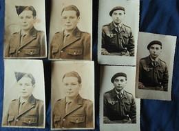 Lot De 7 Photos Portrait De Deux Militaires, Dont Double, Photographe Decker à Evreux Et Gabriel à Melun Années 50 L557 - War, Military