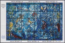 NATIONS-UNIES, 1967, Feuillet Vitrail Chagal (Yvert 4 ) - Ungebraucht