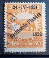 ITALIA FIUME 1922 COSTITUENTE FIUMANA C 20 USATO - Fiume