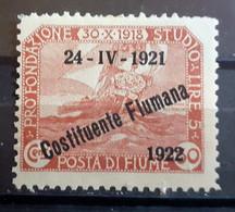 ITALIA FIUME 1922 COSTITUENTE FIUMANA C 30 NUOVO MH* - Fiume