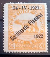 ITALIA FIUME 1922 COSTITUENTE FIUMANA C 20 NUOVO MH* - Fiume