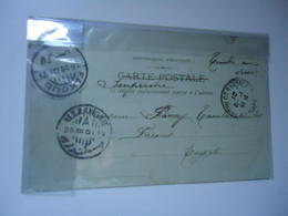 FRANCE    POSTCARDS  MARSEILLE 1901  POSTMAR  EGYPT  FAKOUS AND ALEXANDRIE 2 SCAN - Unclassified