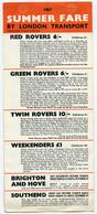 1967 London Transport - Summer Fare Leaflet - Europa
