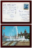 1970 C. Espana Spain Tarjeta De El Palacio Montjuich Barcellona Usada Tossa Y Circulada A Regno Unido 2scans Postcard - Barcelona