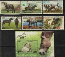 CUBA 2018 FAUNA Animals HORSES - Fine Set + S/S MNH - Unused Stamps