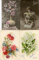 8 Oude Kaarten Bloemen In Vaas / Korf / Boeket - Old Flower Cards - Vieux Cartes Avec Fleurs                  FLOW1 - Flowers