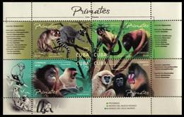 CUBA 2020 FAUNA Animals. Primates MONKEYS - Fine S/S MNH - Unused Stamps