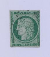 FRANCE 1850 Cérès 15 Cts Vert YT N°2 Oblitéré - 2eme Choix: Clairs Quart Sup Droit - Cote 1100E - 1849-1850 Ceres