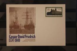 DDR, Ganzsache Caspar David Friedrich;  Wertstempel Gebäude Der Deutschen Post - Private Postcards - Mint