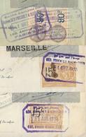 """4 TIMBRES FISCAUX PERFORES """"GEO"""" (Salaisons)  Sur 3 Traites 1923/31 - Perforation Complète S/ Effets Et Timbre Fiscal - Revenue Stamps"""