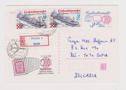 Czech 1989 Registered PSC Bulgarian Philatelic Exhibition Ship Stamps (37585) - Postcards