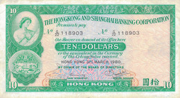 K40 - HONG-KONG - Billet De 10 DOLLARS - Hongkong