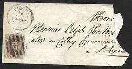 N°7 ? Sur Petite Enveloppe Déchirée Oblitération Distribution 6 De Bilsen CàD Bilsen Le 26 Oct 1853? (Lot 820) - 1851-1857 Médaillons (6/8)