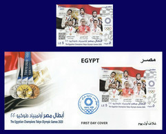 Egypt - 2021 - S/S & FDC - ( The Egyptian Champions Tokyo Olympic Games 2020 ) - MNH** - Ungebraucht