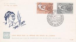 Enveloppe FDC 1231 1232 Droits De L'homme Rechten Van De Mens Mechelen - 1961-70