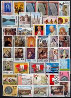 PERÚ , LOTE DE SELLOS USADOS # 12 , PERROS , ARQUEOLOGIA , ARTE , PINTURA , INDEPENDENCIA , BANDERAS , VIAJES DEL PAPA - Peru