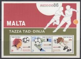 MALTA  Block 9, Postfrisch **, Fußball-WM Mexiko 1986 - Malta