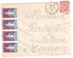 DELME Moselle Lettre 50c Semeuse Lignée Yv 199 Ob 1390 Dest Commercy 4 Etiquettes 1929 PROPRETE Erinophilie Tuberculose - Brieven En Documenten