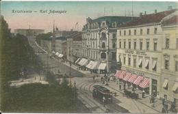 NORVÈGE  -  KRISTIANIA  -  CHRISTIANIA  -  KARL JOHANSGATE  /  Tramway  Grand  Hôtel  Grand  Café - Norway