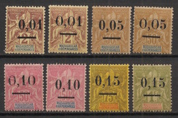Madagascar - 1902 - N°Yv. 51 (types I Et II) - 52 (I Et II) - 53 (I Et II) - 54 - 55 - Neuf * / MH VF - Unused Stamps