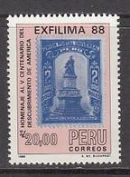 1988 Peru EXFILMA Stamps On Stamps   Complete Set Of 1 MNH - Peru