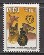 1988 Peru Dog Show Dogs Chiens Complete Set Of 1 MNH - Peru