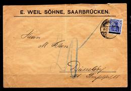 Saargebiet - Brief 1920 - Besetzungen 1914-18