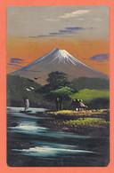 As227 ⭐ 日本 Nihon 富士山 Fujisan Japon Mont FUJI Carte Peinte Main Cabane Lac Voilier Pêcheur Japan 1910s - Other